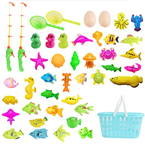 PHYNEDI Spielzeug Magnet Angelspiel 44-TLG Angelspiel badewanne Badespielzeug Meerestieren Strandspielzeug für Kinder ab 3 Jahre