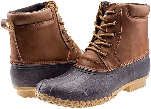 ArcticShield Mens Durable Waterproof Insulated Rain Snow Duck Bean Boots (9 M US Mens, Tan)