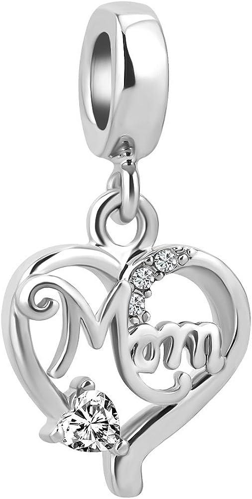 LovelyCharms Love Mom Mother Heart Charm Dangle Bead for European Bracelet