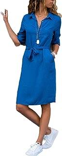 Devon Aoki Women's Casual Tunic Long Top Turndown Collar 3/4 Sleeve Solid Shirt Pocket Dress with Belt