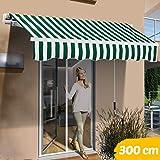 BAKAJI Tenda da Sole Balcone a Bracci Estensibili Parasole Avvolgibile Esterno Giardino a Manovella Telaio in Alluminio Dimensione 300 x 200 cm (Verde Bianco)
