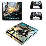Playstation 4 Slim Skin Set - Titanfall HD Printing Vinyl Skin Cover Protective for PS4 Slim Console and 2 PS4 Controller by Mr Wonderful Skin