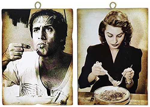 """KUSTOM ART Juego de 2 cuadros estilo vintage """"Actores famososos"""" Adriano Celentano y Sofia Loren Que come los espaguetis - Impresión sobre madera para decoración de restaurante pizzería bar hotel"""