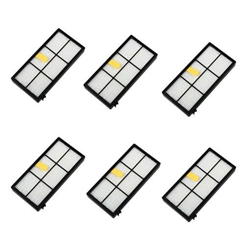 Fulltime® 6 Stück Ersatz Hepa Filter für i-Robot Roomba 800 870 880 Serie Staubsauger Ersatzteil Kit