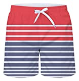 uideazone Men's Swim Trunks Stripes Beach Board Shorts Swimming...