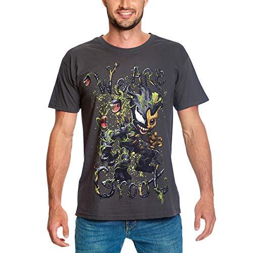 Bravado Camiseta de los Guardianes de la Galaxia Hombre Groot Venomizado Algodón Gris - M