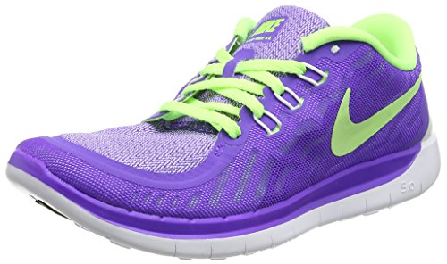 Nike Unisex-Kinder Free 5.0 (GS) Laufschuhe, Violett (Hyper Grape/Ghost Green/Metallic Silver 501), 38.5 EU