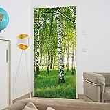 murimage Papel Pintado Puerta Bosque 3D 86 x 200 cm Incluye Pegamento Madera Plantas Abedules Árboles Sol Habitación Fotomurales Pared