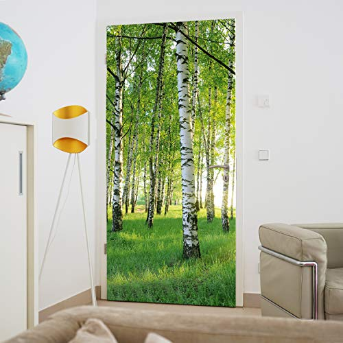 murimage Türtapete Wald 86 x 200 cm inklusive Kleister Birken Bäume Sonne Fototapete
