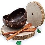 Pack  2 Boles de coco + Bandeja de Madera Decoración | El bol de coco es un Tazón tipo Cuenco para Cereales o Postre | Para Budha Bowls, Sopas o Aperitivos |