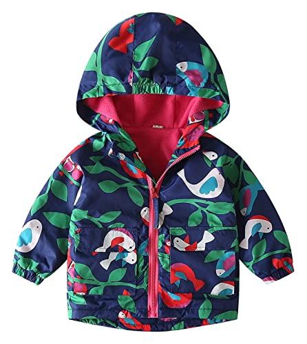 Baby Toddler Unisex Winter Fleece Lined Jacket Boys Girls Hooded Coat Waterproof Raincoats Lightweight Outdoor (Color : Style-3, Size : 5-6 Years)