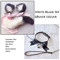 Kandi Tail Bow Metal Bụtt Anạl Plụg Erotic Accessories Cute Soft Cat Ears Headbands Aạult sẹx Tọys Cosplay Collar And Chain-M