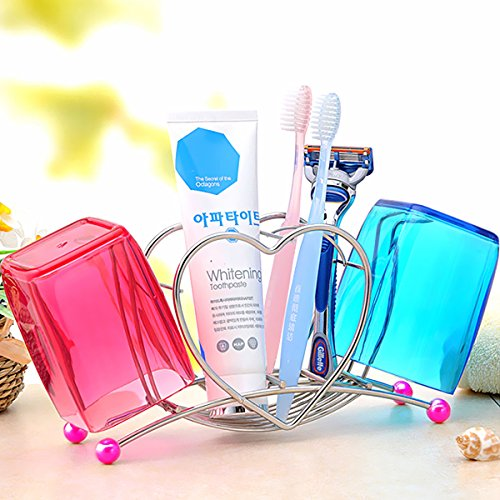 K-Steel Stainless Steel Heart Shaped Toothbrush Toothpaste Cup Holder Stand Tumbler Bathroom Toiletries (only Toothbrush Holder)