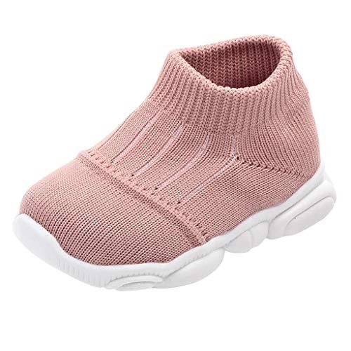 Deloito Turnschuhe Kleinkind Babyschuhe Mädchen Säugling Jungen einfarbig Gestreift Sneaker Mesh Atmungsaktive Sportschuhe Kinder Laufen Socken Schuhe (Rosa,20 EU)
