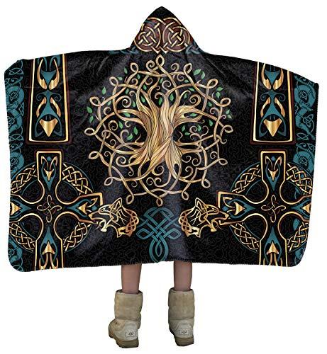 Yggdrasil Tree of Life Celtic Gold Cross_Scandinavian Mythology Artisan Handcrafted Hooded Blanket
