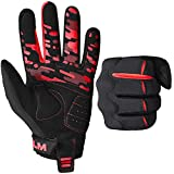 ILM Adult Dirt Bike Motocross Bicycle Gloves Full Finger Breathable Mountain Bike Cycling Touch Screen Glove for Motorcycle BMX ATV MTB Sports Outdoor (Red Adult-L)