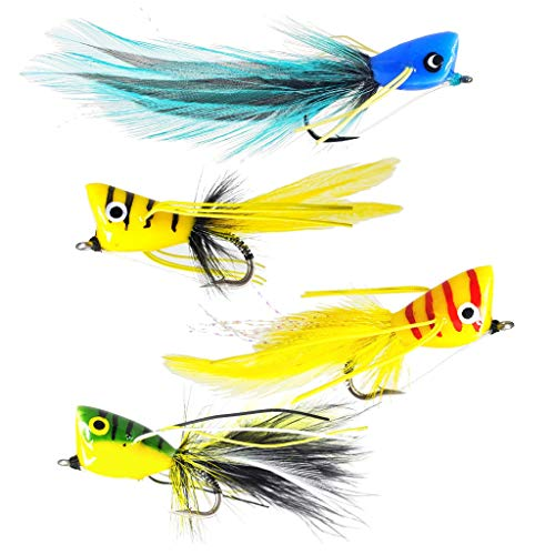 The Fly Crate Hard Popper Bass & Panfish Popper Fly Fishing Assortment (4 Pack Variety)