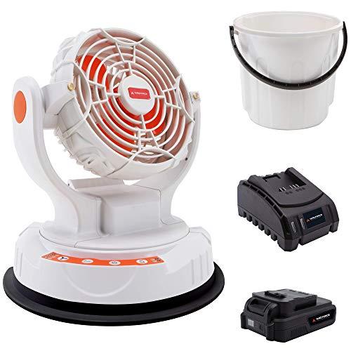 YARD FORCE Akku Sprühnebel Ventilator LF C36 - Bis zu 6 Stunden Sprühnebel mit 20 V/2,0 Ah Akku und 23-l-Eimer, 3 Windstufen und 2 Sprühnebelstufen, inklusive Schnellladegerät
