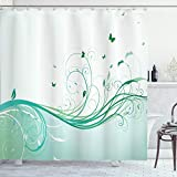 ABAKUHAUS Türkis Duschvorhang, Blumen Schmetterlinge, Set inkl.12 Haken aus Stoff Wasserdicht Bakterie & Schimmel Abweichent, 175 x 220 cm, Minze grün hellgrün