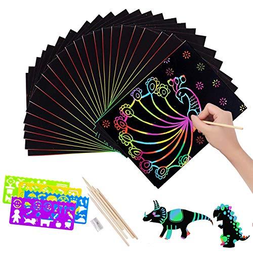 Papel para Rascar 50 hojas Dibujo Scratch Arte de Raspado con 5 Estilográficas De Madera 4 Reglas De Dibujo y 1 Sacapuntas para Niñas o Niños 19.5 * 27cm