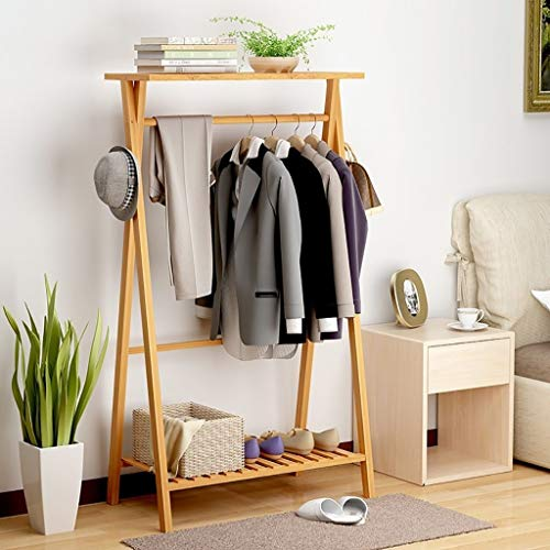 XAGB Perchero de bambú para dormitorio, secado de madera con zapatero (color: A, tamaño: 80 cm)