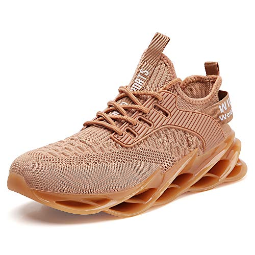 mesh Sneakers for Men Brown Running Shoes Stylish Sport Tennis Athletic Walking Jogging Trainers Breathable Comfort Size 8.5