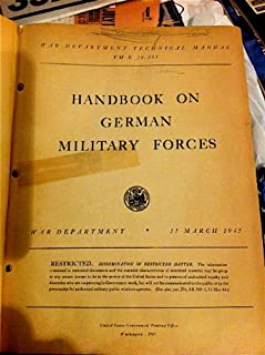 TM-E 30-451. Handbook on German Military Forces. Restricted.