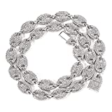 Coffee Bean Cuban Link Chain - Mens Iced Out Hip Hop Silver or Gold Tone CZ Miami Cuban Mariner Link Chain 18' 20' 24'Choker Necklace Hip Hop Jewelry for Women (Silver, 20)