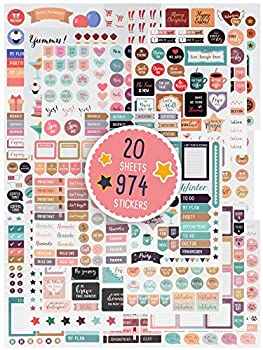 Aesthetic Planner Stickers - 974 Beautiful Accessories Enhance and Simplify Your Planner Journal and Calendar