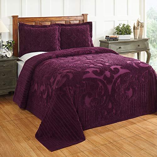 Better Trends Ashton Collection ist super weich & leicht im Medaillon-Design, 100 prozent Baumwolle, getuftet, einzigartig, luxuriös, maschinenwaschbar, trocknergeeignet, Doppelbett-Tagesdecke, Pflaume