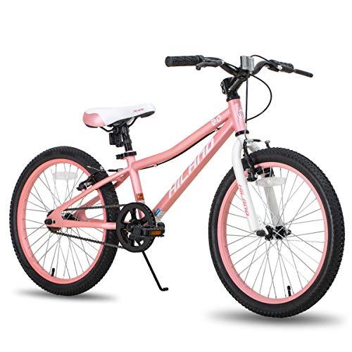 Bicicleta infantil Hiland Climber de 20 pulgadas, para niños y niñas, para 4-7 años, horquilla de suspensión, freno en V, color rosa