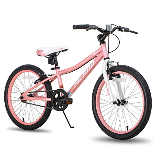 Hiland 20 Inch Kids Bike Bicycle for Ages 5 6 7 8 9 Years Old Girls Light Pink White