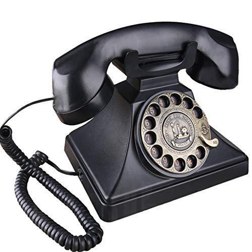 ZARTPMO TeléFono CláSico Vintage, Esfera Giratoria De Metal De Estilo Retro De Los AñOs 70, TeléFono Fijo Antiguo - Negro