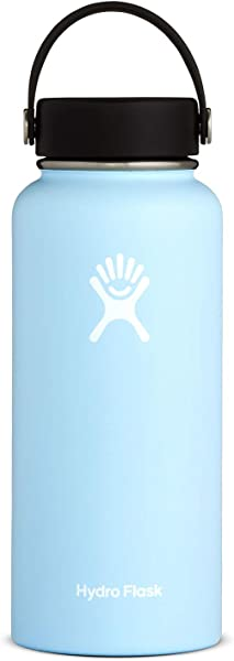 Hydro Flask Stainless Steel Water Bottle Wide Mouth With BPA Free Flex Cap 32 Oz Frost