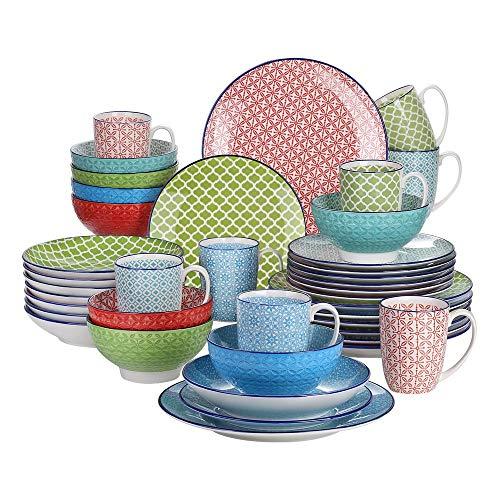 ASYCAN Vajilla de porcelana multicolor de 40 piezas con 8 platos llanos, plato de postre, plato de sopa, cuenco, juego de tazas para 8