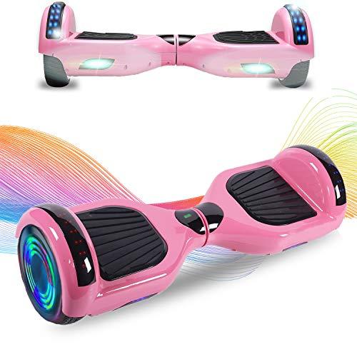 HappyBoard Hoverboard 6.5'' Patinete Eléctrico Bluetooth Monopatín Scooter autobalanceado, Ruedas de Skate con luz LED, Motor Bluetooth de 700W para niños y Adultos (Cielo púrpura)