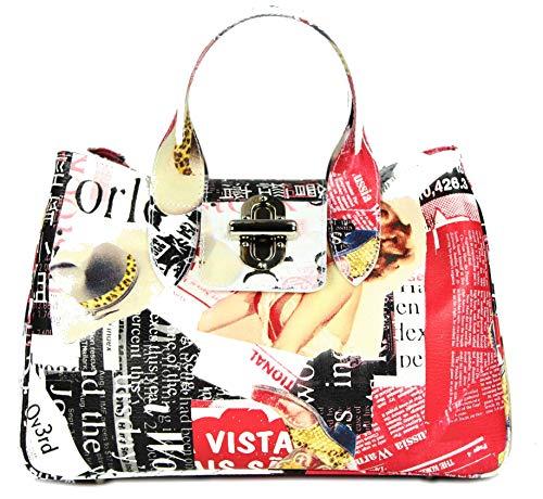 Belli Echt Leder Handtasche Damen Ledertasche Umhängetasche Henkeltasche weiß bunt gemustert - 36x25x18 cm (B x H x T)