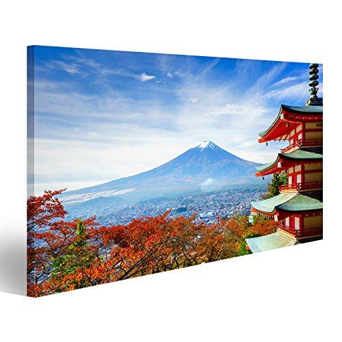 islandburner Cuadro Cuadros Impresión sobre Lienzo - Formato Grande - Cuadros Modernos Templo japonés Antes de Fujiyama
