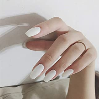 YienDoo False Nails White Frosted Square Head Long French Nails Full Cover Nail Tips Fake Nails for Women and Girls 24Pcs