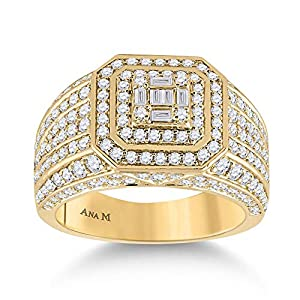 Diamond2Deal Herrenring aus 14 Karat Gelbgold, Baguette-Diamant, quadratischer Ring für Herren, 2-1/2 Karat