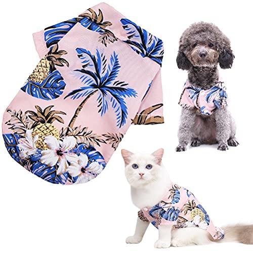 RUSTOO Camiseta de verano para perro, chaleco de perro, camisa hawaiana para mascotas, camisa de campamento de verano para perro, camisa suave y transpirable, ropa de verano para perros
