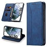 Leaisan Handyhülle für Samsung Galaxy S21 Hülle Premium Leder Flip Klappbare Stoßfeste Magnetische [Standfunktion] [Kartenfächern] Schutzhülle für Galaxy S21 5G Tasche - Blau