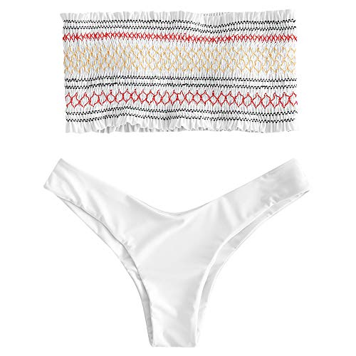 ZAFUL Women's Striped Smocked Bandeau Bikini Set Strapless Shirred Padded Two Piece Swimsuits (L, White)