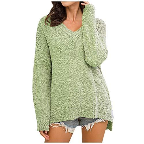 EUCoo - Suéter de cachemira con cuello en V para mujer