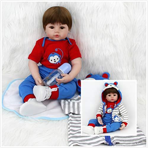 ZIYIUI 60 Centimètre Reborn Bébé Doll Poupée Garcon Vinyl Silicone Realiste Poupee Lifelike Bebe Nouveau-né Baby Doll Cadeaux pour Enfants