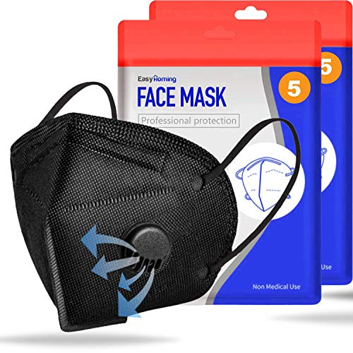 Face Mask For Sale With Valve - 5pcs Black Face Mask - Disposable Washable - Face Mouth Covers Anti Pollution 5 Layers Non-Woven Breathable Face Masks Respirator