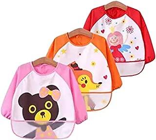 Kids Arts Craft Painting Apron Unisex Infant Toddler Baby Waterproof Sleeved Bib, Cute animals, Set of 3, 6-36 months