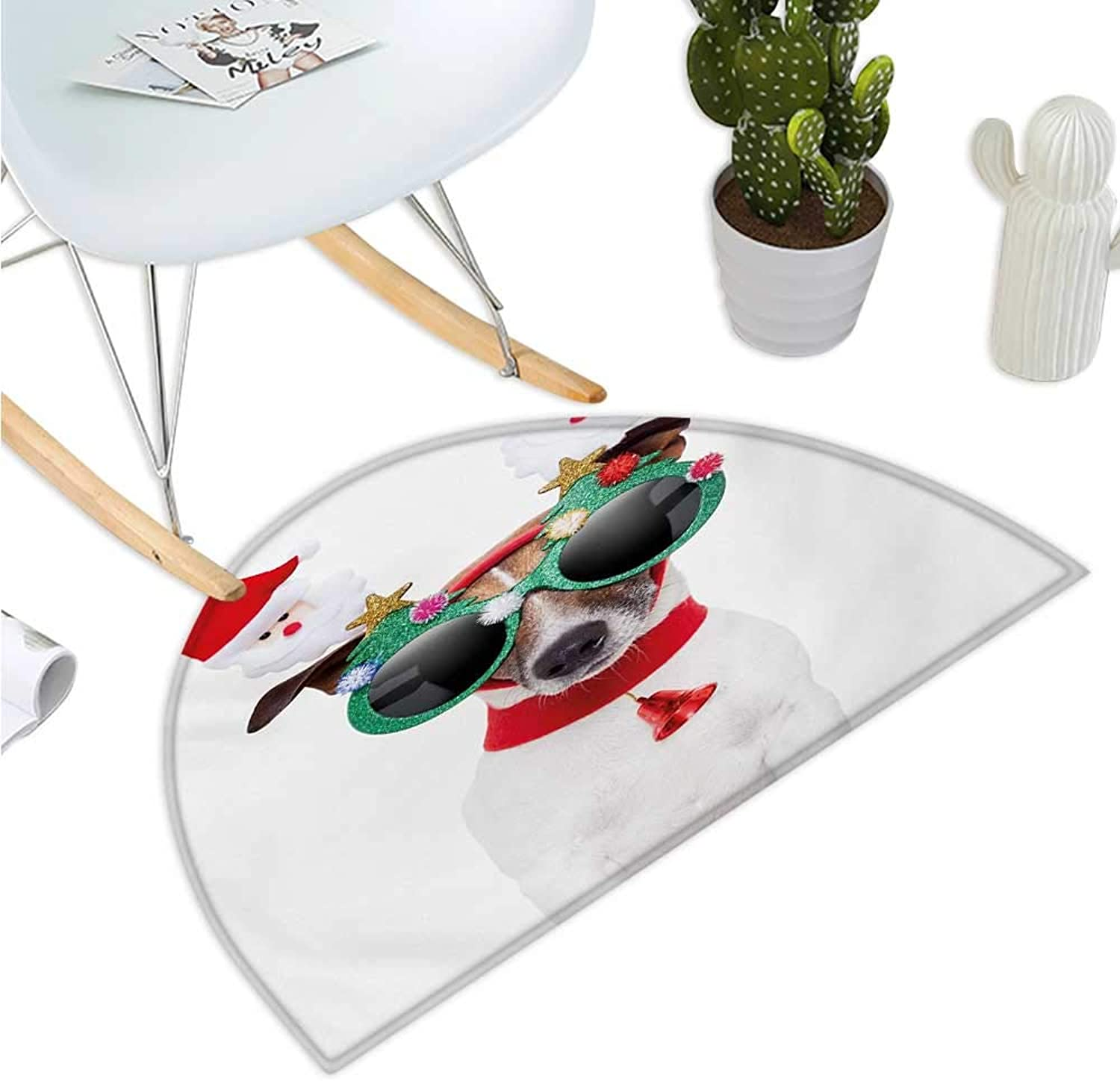 Christmas Semicircular Cushion Funny Puppy Jack Russel Dog with Hilarious Sunglasses Santa Figures and Bell Entry Door Mat H 51.1  xD 76.7  Multicolor