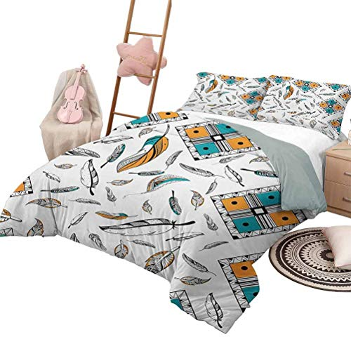 Daybed Quilt Set Boho Quilt Cover with Pattern Tribal Bohemian Bird Feather Patterns with Geometric Square Vintage Motifs Queen Size Teal Orange Black
