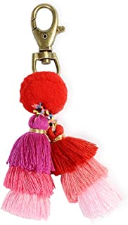 Pom Pom Tassel Keychain - Women's Novelty Keychains For Purse Bag Charm, Unique Gifts For Girls Jewelry (Pink)
